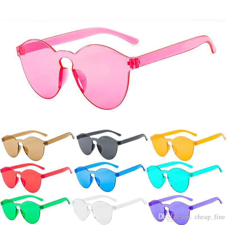 Süßigkeit-Farben-rahmenlos Frauen PC-Sonnenbrille UV400 Retro Brillen Süßigkeit färbt Damen Designer-Sonnenbrillen 9803