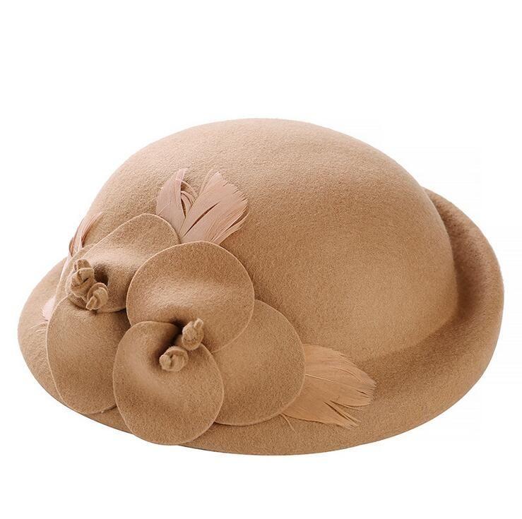 Femmina sveglia Lana britannico australiano Feltro Beret Hat Donne francese Lady Artista Coppola fiori Boina Feminino Cappelli Per Ragazze Beret