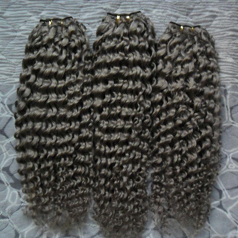 Feixes de Cabelo humano 3 PC Pacotes Tecer Cabelo Brasileiro kinky curly cinza Cor 100% Humano Weave Bundles Não-Remy Extensão Do Cabelo