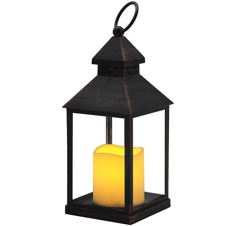 Home decor battery operated plastic lantern with led candle