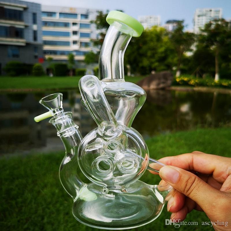 9 Inch Double Recycler Dab Rig Torus Glass Bongs Slitted Donut Percolator Bong Glass Beaker Bong With 14mm Glass Bowl XL-324
