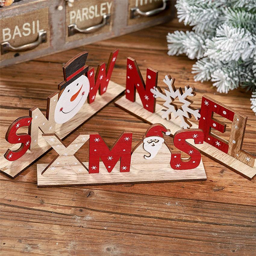 Nouvelle lettre de Noël en bois Décorations Père Noël imprimés Ornements de bureau Contreplaqué Accueil Decors Ornements A07