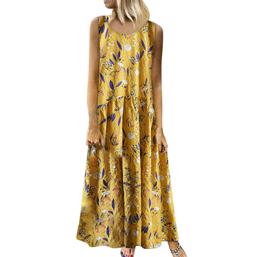 TELOTUNY Women Sleeveless Floral Print Long Dresses Vintage Plus Size Summer Fashion V-Neck Sundress Casual Ladies Dress 19L0711
