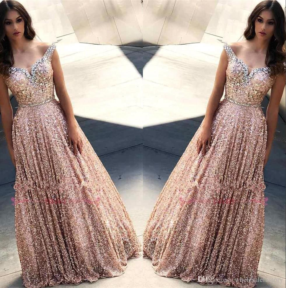 Rose Gold Off The Shoulder Sequins A Line Long Prom Dresses 2019 Beaded Stones Floor Length Formal Party Wear Gowns BC1588