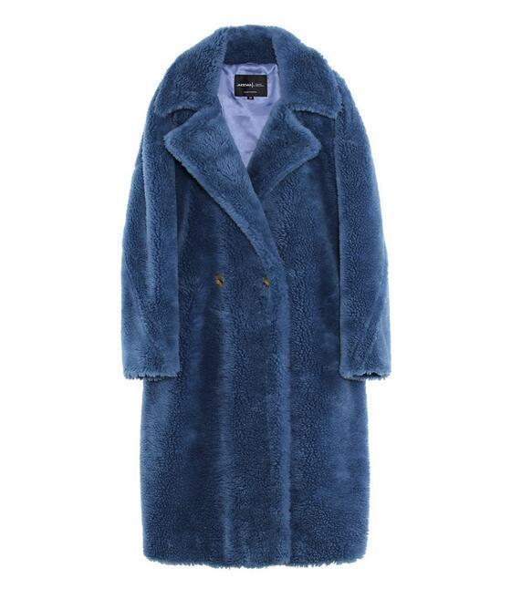 6 cores Jazzevar azul ovelhas de lã de pele longa parkas Com Cashmere Forro mulheres ovelhas de corte de peles casacos