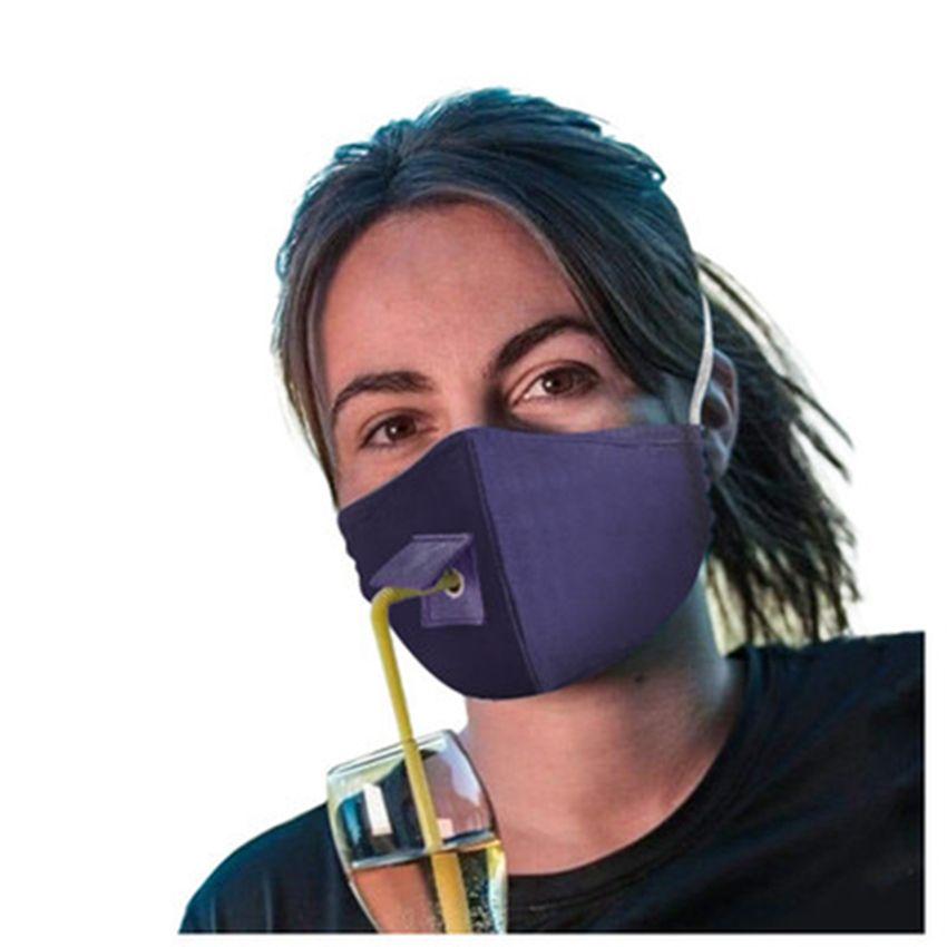 Творчество Стро маска Новый дизайн маски для лица 2 слоя чистого хлопок PU Материал моющегося Solid Color Designer Mask IIA204