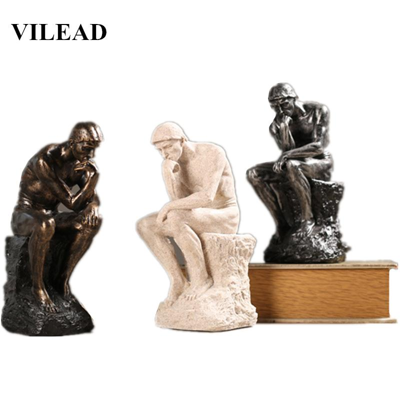 VILEAD 26cm Resin Sandstone Thinkers Statue Retro Creative People Ornaments Home Decorations Accessories Handmade Crafts Gifts T200619
