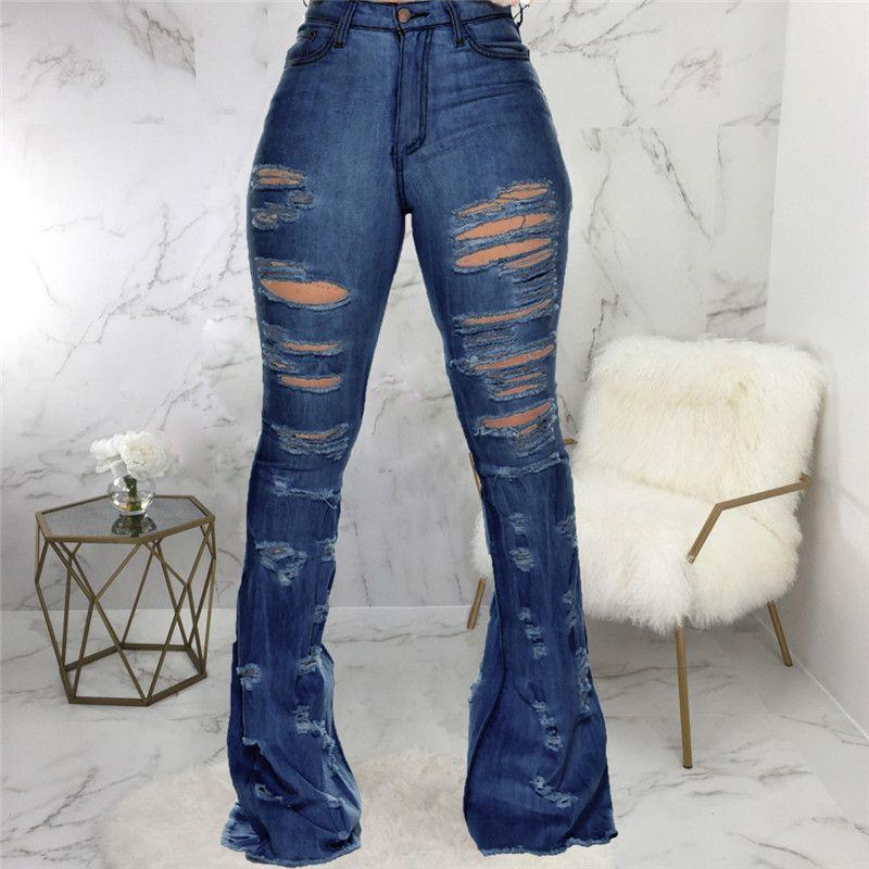 Nuevo Diseño de las mujeres de la moda Color Azul Jean Boot Cut pantalones casuales pantalones de señora Long Calle Denim atractivo del club Wide Leg Jeans