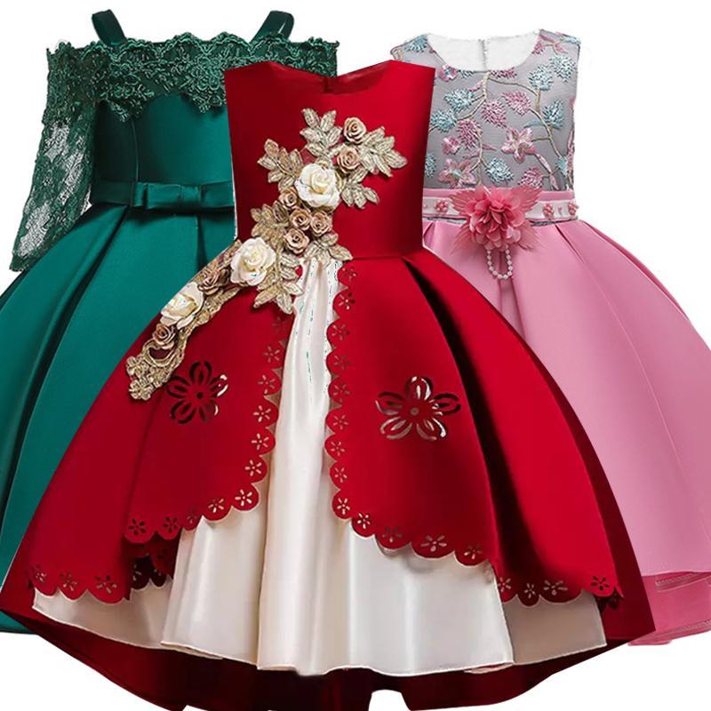 Meninas Vestem crianças Vestidos para meninas do vestido elegante Princess Party Evening Wedding menina para vestido Crianças Roupa 3 6 8 9 10 Anos Y200623