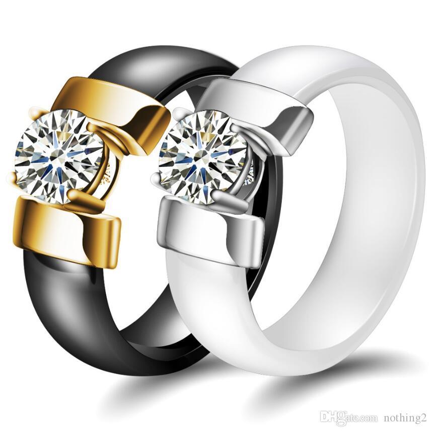 desigenr المجوهرات زوجين خواتم الزركون السيراميك الصقيل حلقات الفرقة للأزواج الأزياء الساخن خالية من الشحن