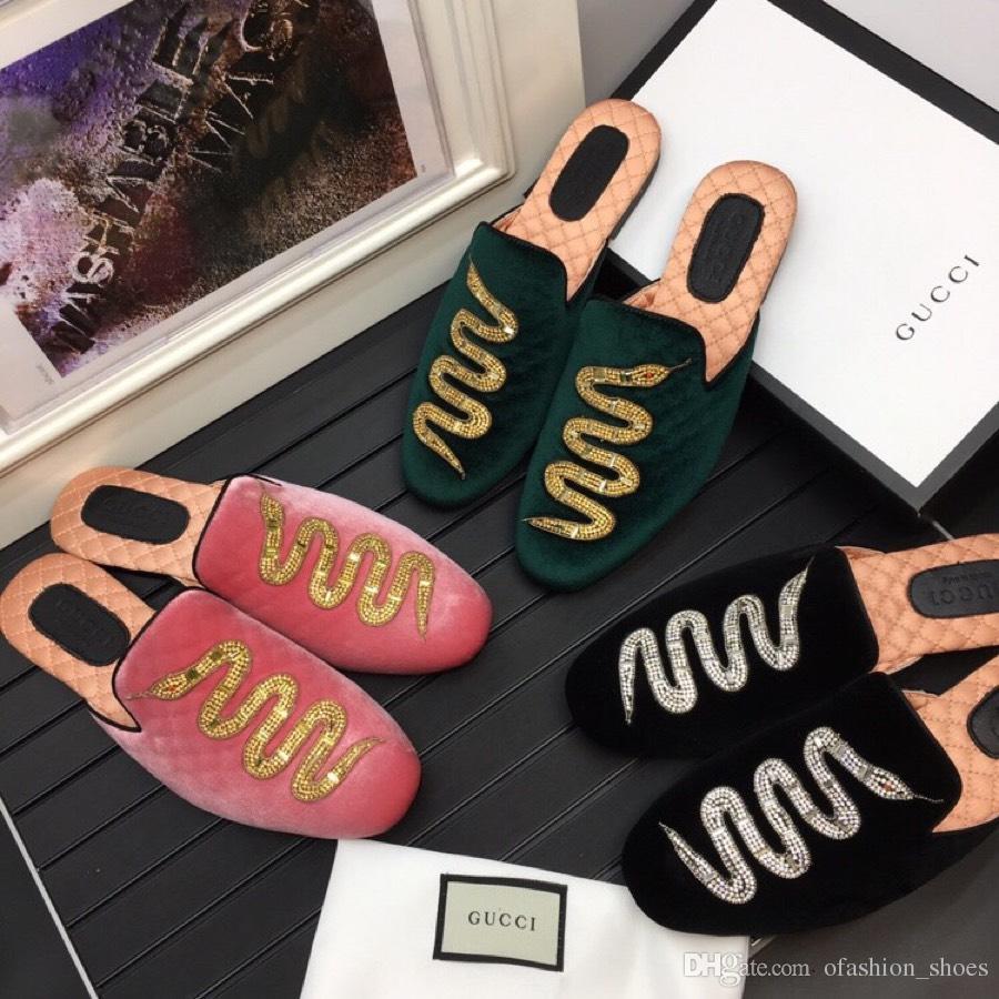 Wildleder männer neue rutschen outdoor sandalen strass designer tier stickerei schlange hausschuhe 3 farben Hombre 38-45