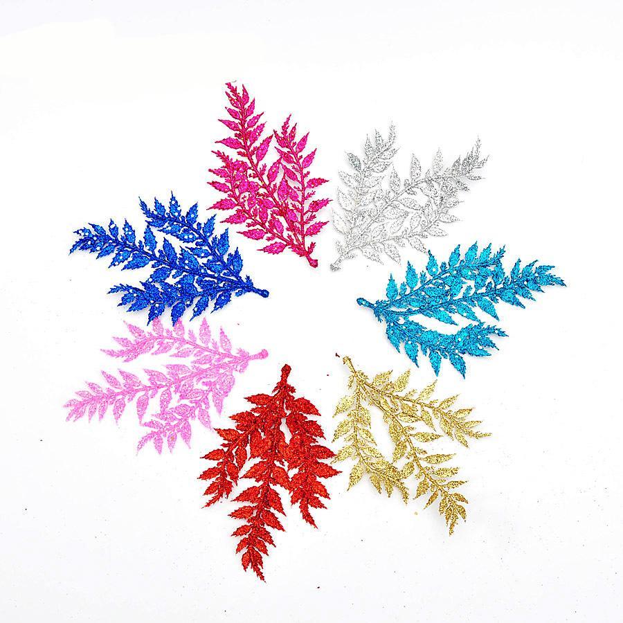 15pcs DIY Çelikler Yapay Noel Yapraklar Glitter Ponsetya Ev Süsler Festivaller Yılbaşı Ağacı Dekoru Parti Malzemeleri