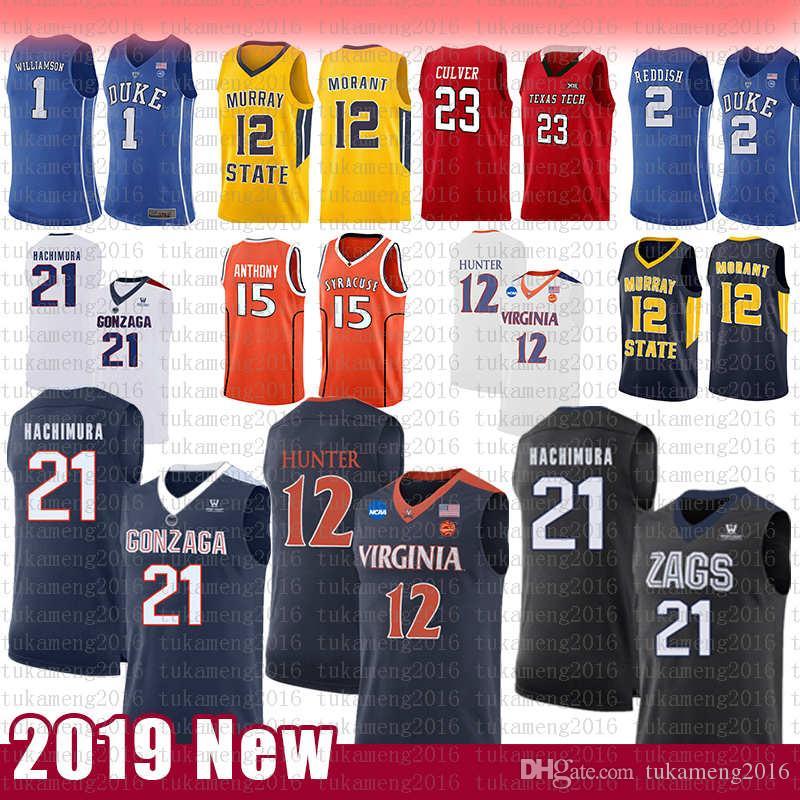 12 De'Andre Hunter 21 Rui Hachimura NCAA College Basketball Jersey Gonzaga Бульдоги Вирджиния Кавальерс Кармело Энтони 15 Сиракузы
