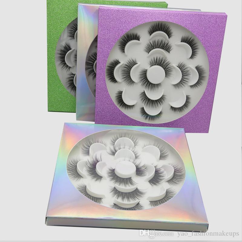 UPS!! 7pairs 25мм 5D Толстые Slik Ресницы с packging коробка Поддельные Ресницы Длинные макияж Поддельный норка Ресницы Extension Ресницы Цветочный лоток