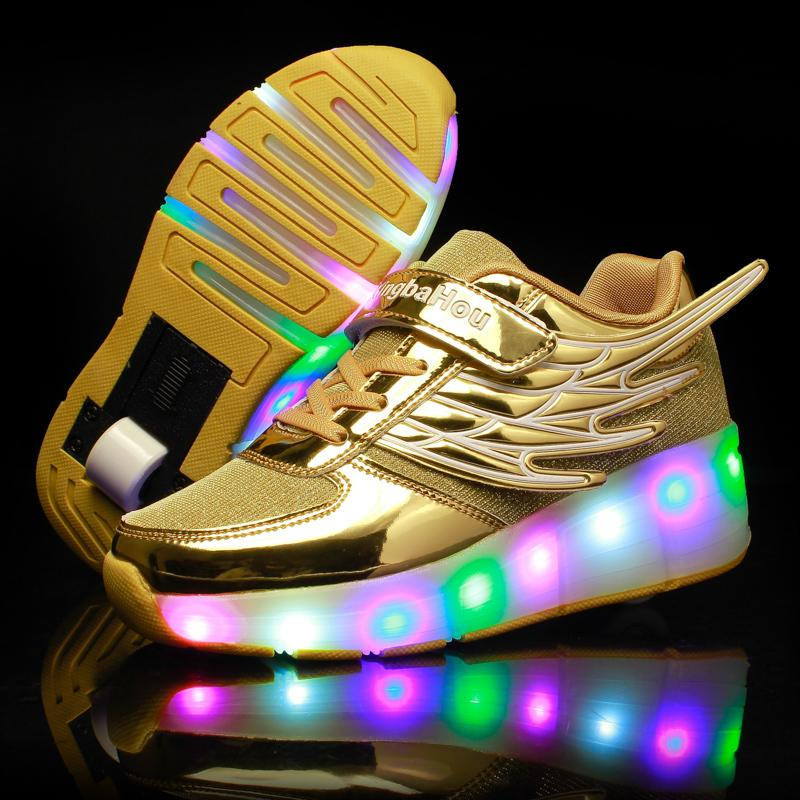 New Pink Gold Cheap Child Fashion Girls Boys Led Light Roller Skate Shoes For Children Kids Sneakers With Wheels One Wheels Y19061906