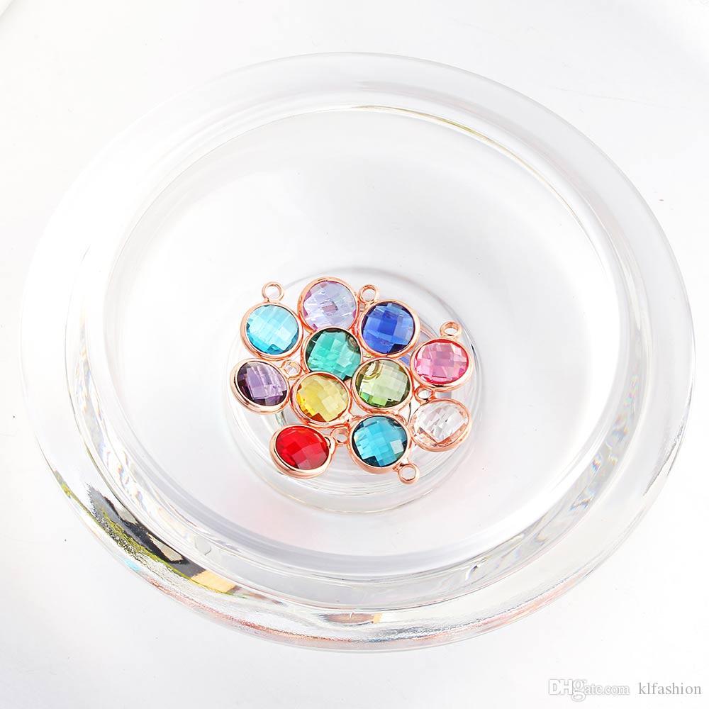2019 nuevo de la manera de cristal pequeño Rhinestone colgantes del encanto del collar del brazalete de la joyería que hace 12 colorido piedra del DIY del encanto