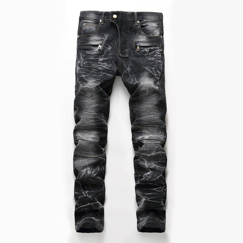 Primera marca para hombre de nieve de la manera flaca delgada del motorista de la motocicleta pantalones vaqueros rectos ocasionales de alta calidad destruido Pantalones Mejor