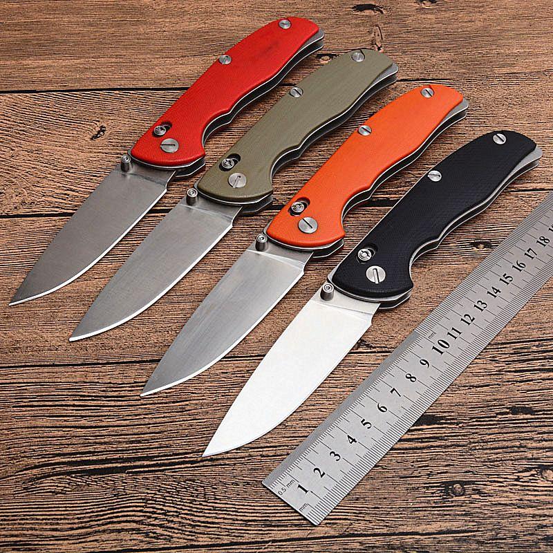 Четыре цвета ручки выживания тактический складной нож D2 Drop Point Атласное лезвие G10 Ручка EDC Карманные ножи Подарочный нож