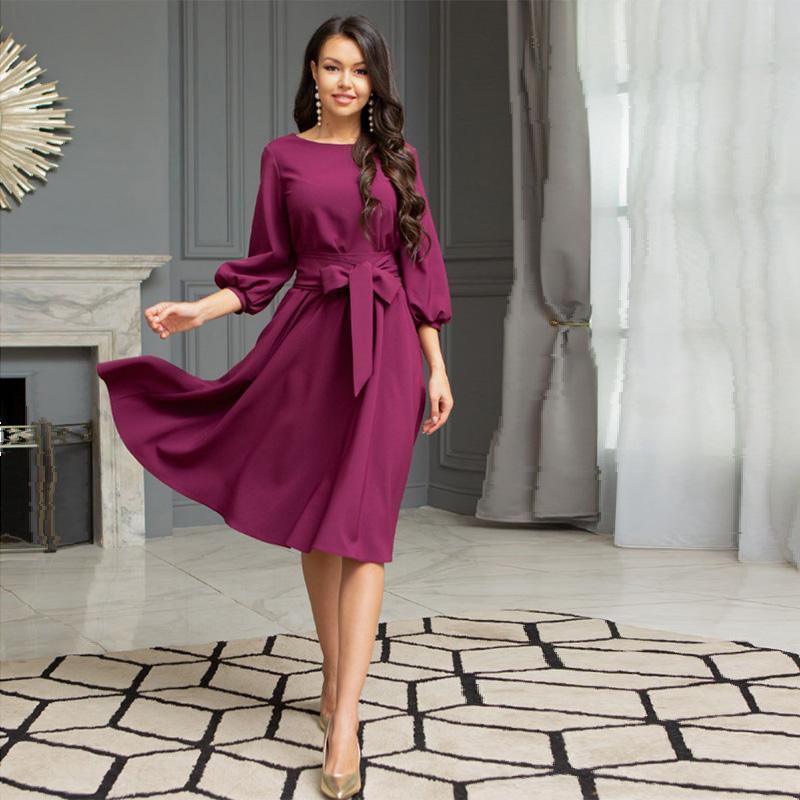 AprilGrass Marque Designer Bandage Robe de soirée Vintage Bow Tie Femmes dames lanterne manches O cou élégant mode automne longueur au genou