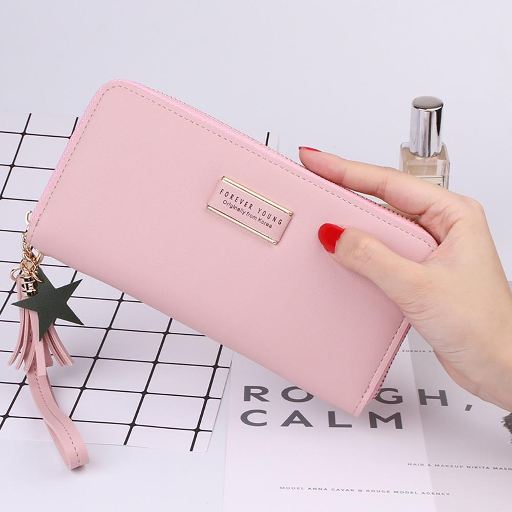 2019 Mulheres PU Leather longo Zip Cartão Ladies Purse Wallet Titular Caso Clutch telefone Coin