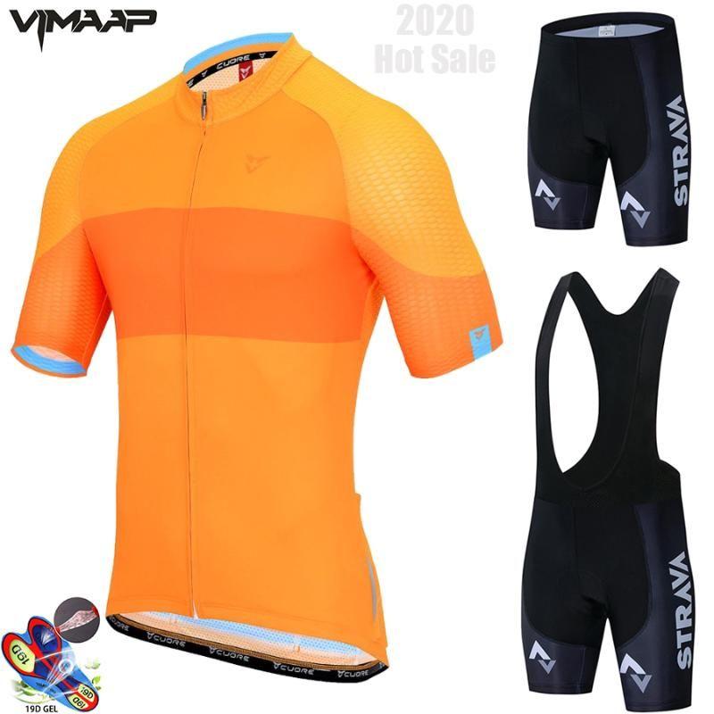 Novos 2020 strava Sets Ciclismo Jersey verão respirável Ciclismo Roupa Pro bicicleta Equipe de manga curta Homens