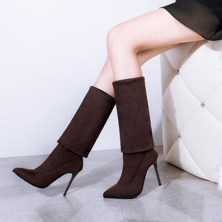 Caliente de la venta por el estiramiento de gamuza para mujer de alta del muslo estilete atractivo de los cargadores sobre la rodilla botas de tacón alto en punta del dedo del pie zapatos de los cargadores largos Negro