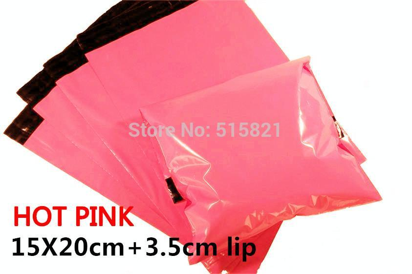 بالجملة، [cnklp] ساخنة الوردي 15x20cm + 3.5CM الشفة مقذوف المشارك متعدد الطبقات SELF SEAL بولي بريدية BAGS ENVELOPE [100PCS]