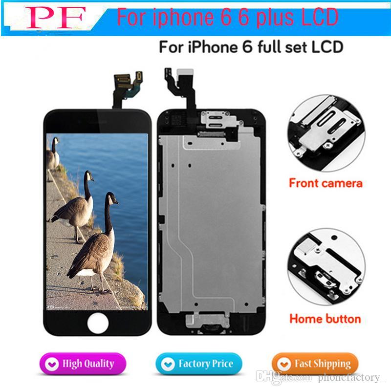 Iphone 6/6 için LCD Ekran Artı tam set ekran LCD Yedek kamera + ev düğmesi ile Komple Meclisi flex kablo + Kulaklık Hoparlör