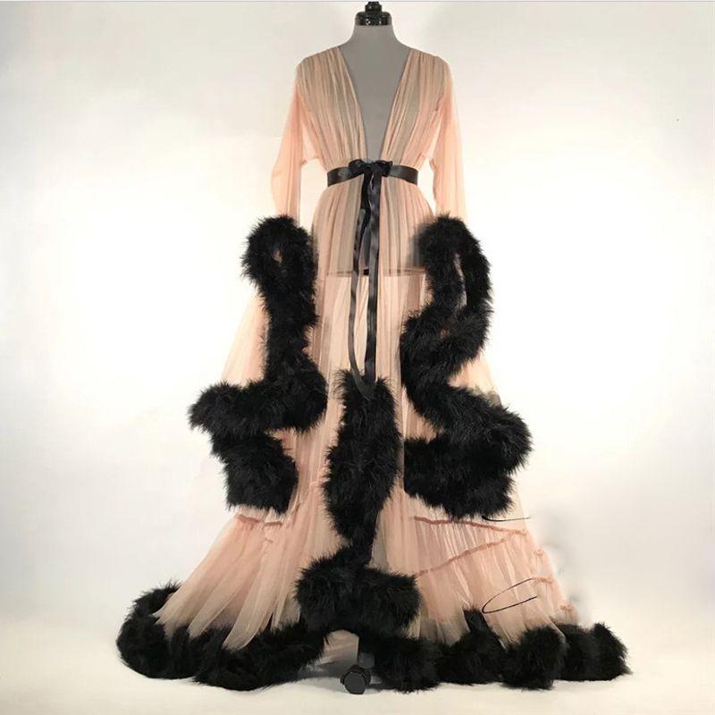 Новая зима Sexy Lady искусственного меха пижама женщины Халат Sheer Nightgown Обертывание Мантия выпускной вечер Bridesmaid шаль