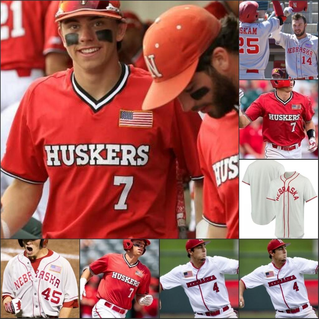 Nebraska CornHuskers Cucito NCAA College Baseball Jersey 2 Jaxon Hallmark 4 Alex Gordon 7 Angelo Altavilla 13 Chad Luensmann