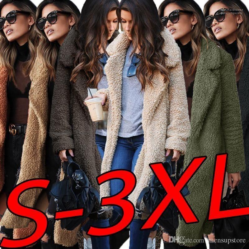 Escudo abrigos con mangas larga primavera Mujeres largo invierno chaquetas de lana otoño gira el collar abajo