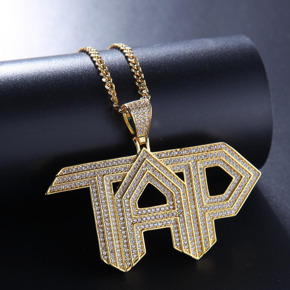 New Fashion Gold Bling CZ Cubic Zirconia Mens TAP Letters Pedant Necklace White Gold Full Diamond Hip Hop Rapper Jewelry Gifts for Boyfriend