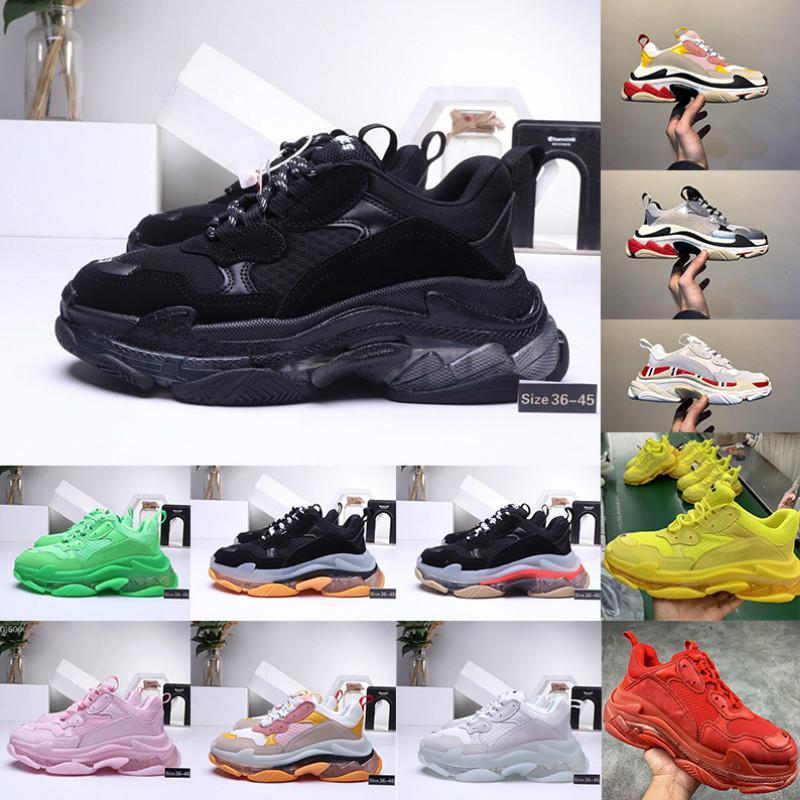 2020 Fashion Casual chaussures 17FW Triple-S papa pour Hommes Femmes Vintage Sport Noir Triple S Chaussures Sole Effacer Maladroit Sneaker