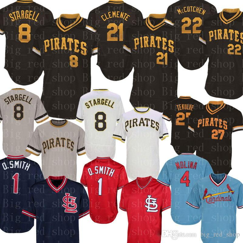 8 Willie Stargell Jersey Roberto Clemente Star Marte Francisco Cervelli Kent Tekulve Yadier Molina Ozzie Baseball-Shirts