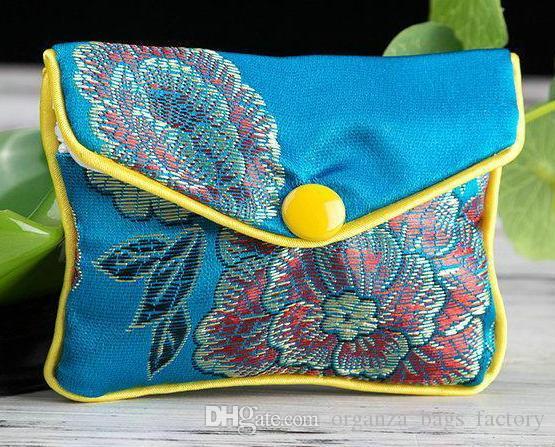 20 pcs azul Floral Zipper Coin Purse Jóias Silk Purse Bag Pouch Gift Bag, Chrismas Páscoa O Dia Das Bruxas New Year Wedding Party Bag Presente de Aniversário