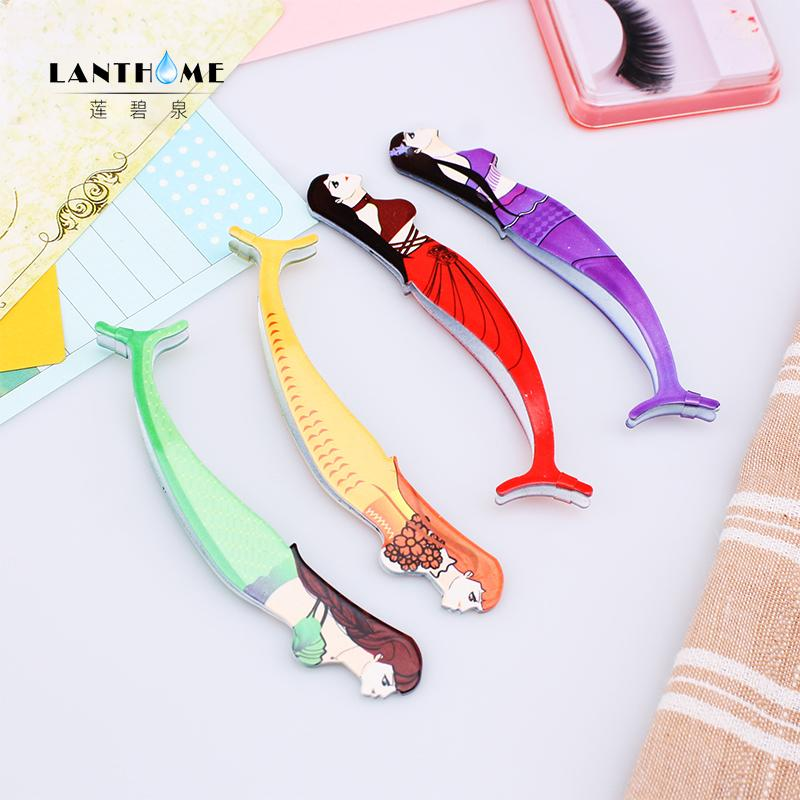 4 Color False Eyelash Clip Mermaid Pattern Beauty Assistant Tool Eyelash Curler Tongs Auxiliary Lash Lift Silicone Pads Handle