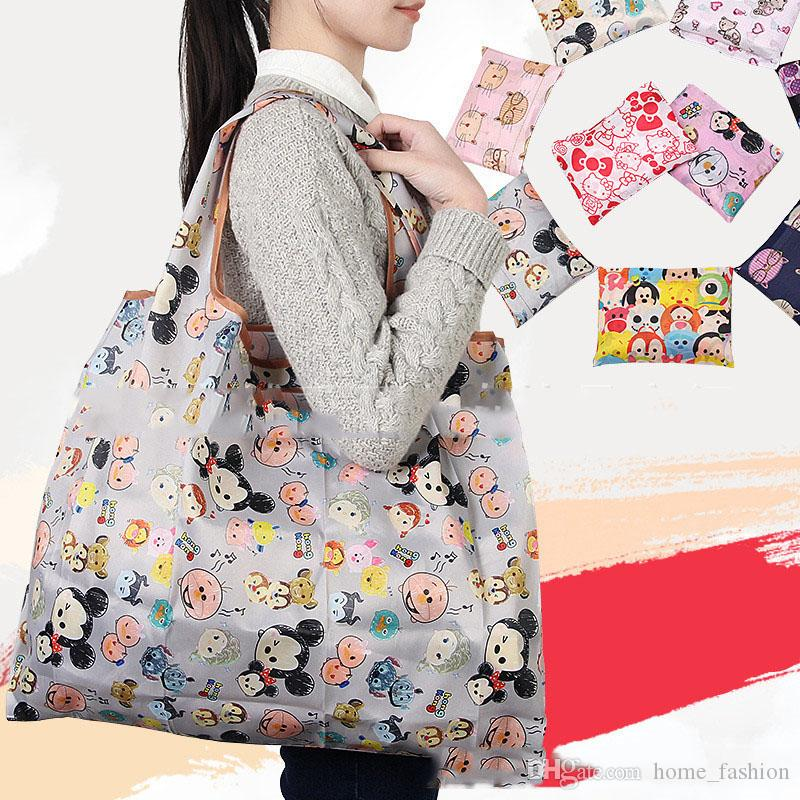 Foldable Large Capacity Shopping Bags Reusable Storage Bags Eco Friendly Waterproof Nylon Handbags Tote Bags Travel Grocery Pouch HF100