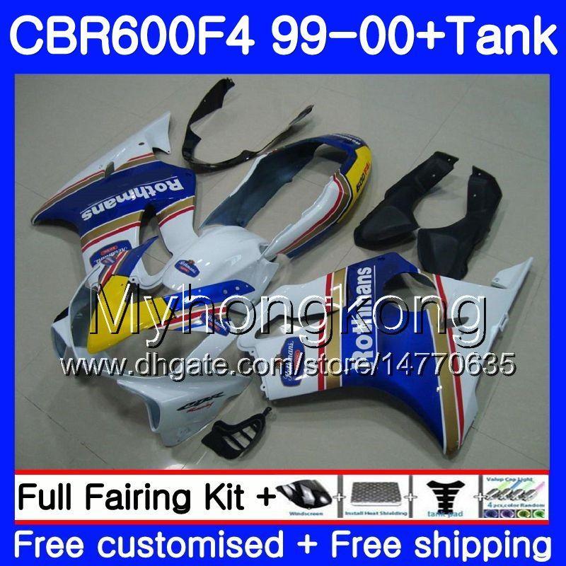Bodys + Tankı HONDA CBR 600 F4 Için FS CBR 600F4 CBR600F4 99 00 287HM.40 Rothmans Mavi sıcak CBR600FS CBR600 F4 CBR600 F4 1999 2000