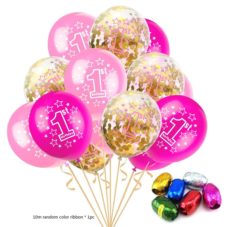 Acheter Set Douche Bébé Garçon Fille Ballons Latex Confetti Ensemble 1ère Fête Danniversaire Décoration Enfants Joyeux Anniversaire Ballon 1 An De
