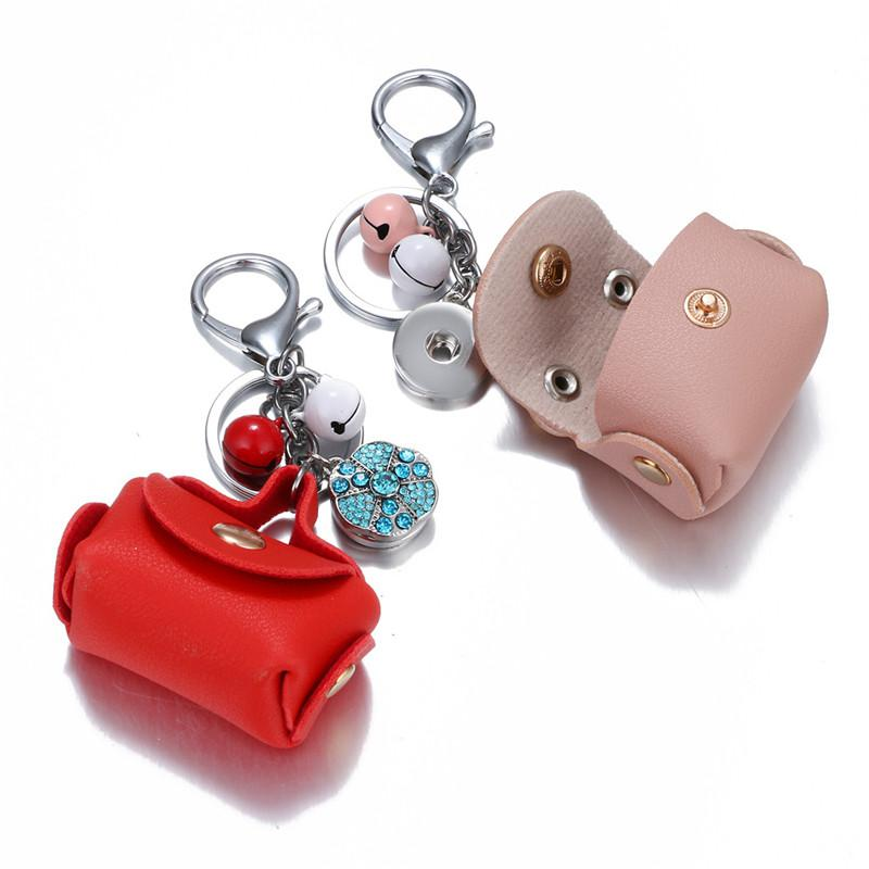 2019 New Mini Coin Purse keychain Noosa Alloy Button Pendant accessories Keyfob Leather Bell pendant Keyrings 8 Styles Christmas gift M51Q