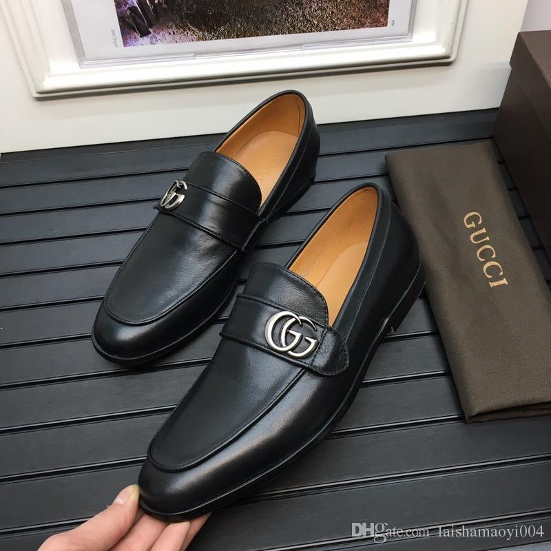 19ss Newst Leather Cowhide Men Casual Shoes Diseñadores de lujo Mocassin Dress Shoes Zapatos Hombre Drivers Mocasines Zapatos 38-45
