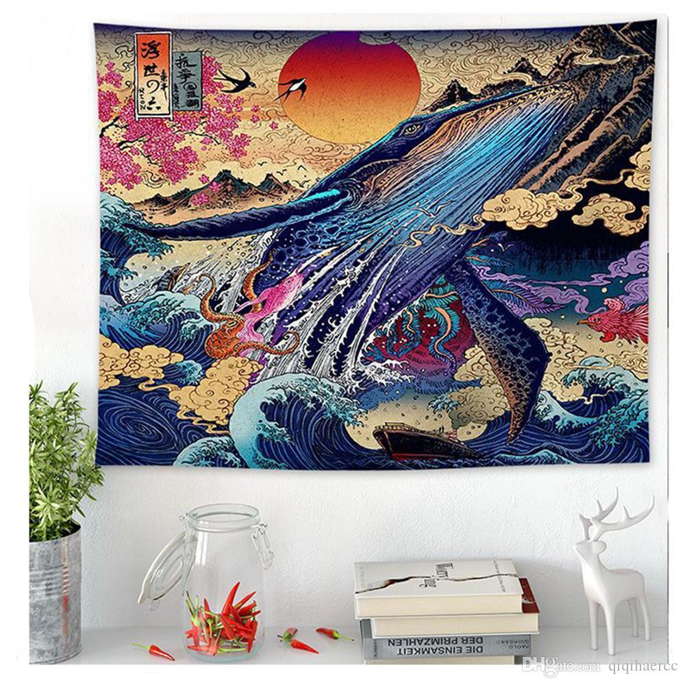 Giapponesi Waves Kanagawa stampato Hanging Tapestry Whale Arowana Deer Snake Totem Wall Hanging Arazzi Boho Copriletto Coperta