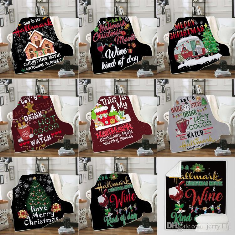 Christmas 3D Печатный Бланкет 8 стилей Зимний носимого с капюшоном дизайнер одеяло Теплое украшения Мягкая кровать Главная Бросьте Диван Одеяло JY761