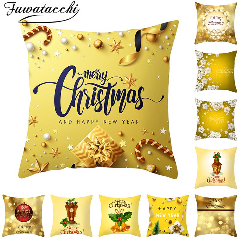 Fuwatacchi Gold Merry Christmas Cushion Cover New Year Gift Throw Pillow Covers for Home Sofa Decorative Pillowcases 45*45cm