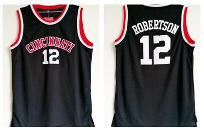 Оскар Робертсон Джерси 12 Университет Баскетбол Цинциннати Bearcats Колледж Трикотажные Изделия Мужчины Черный Цвет Дышащий Сшитые