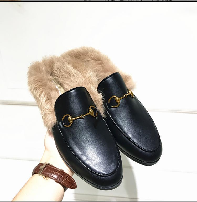 Lefu أحذية 2019 جديد جلد الفراء شبه النعال جولة عنوان الحصان زرر شقة سوليد الأرنب الشعر الأحذية الدافئة واحدة كسول زوجين الأحذية