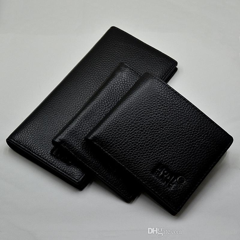 Ücretsiz Kargo - Lüks Gerçek Deri Cüzdan Siyah ve Kahverengi Adam Cüzdan Kredi Kartı Para çanta Yüksek kaliteli Erkekler Gömlek Kol Düğmeleri Manşet Düğme