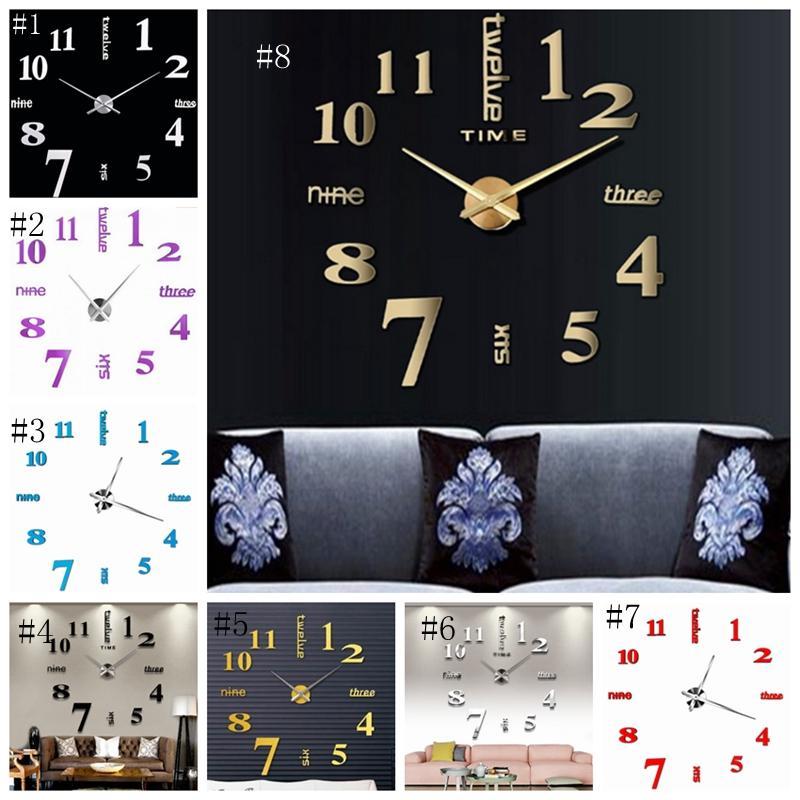 Relojes de pared 3D Real reloj de pared grande bricolaje apresurado etiqueta de la pared de espejo navidad salón decoración para el hogar 8 colores DSL-YW1605
