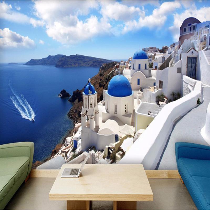 Foto dropship encargo del papel pintado 3D Grecia Aegean mediterránea Gran sala de estar Dormitorio murales no tejido Papel pintado mural de parede 3D