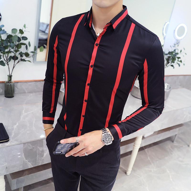 2018 New Fashion Brand Clothing Mens Shirt Black Stripe Shirt Slim Fit Turn-down Collar Dress Formal Men Clothes